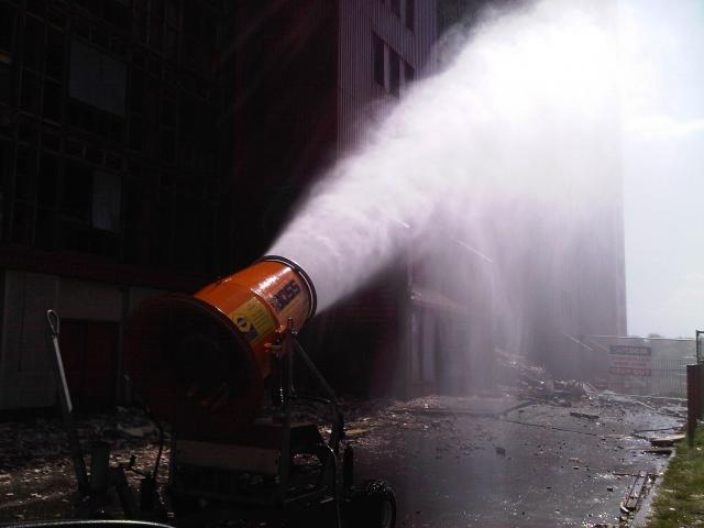 water cannon used to help suppress dust